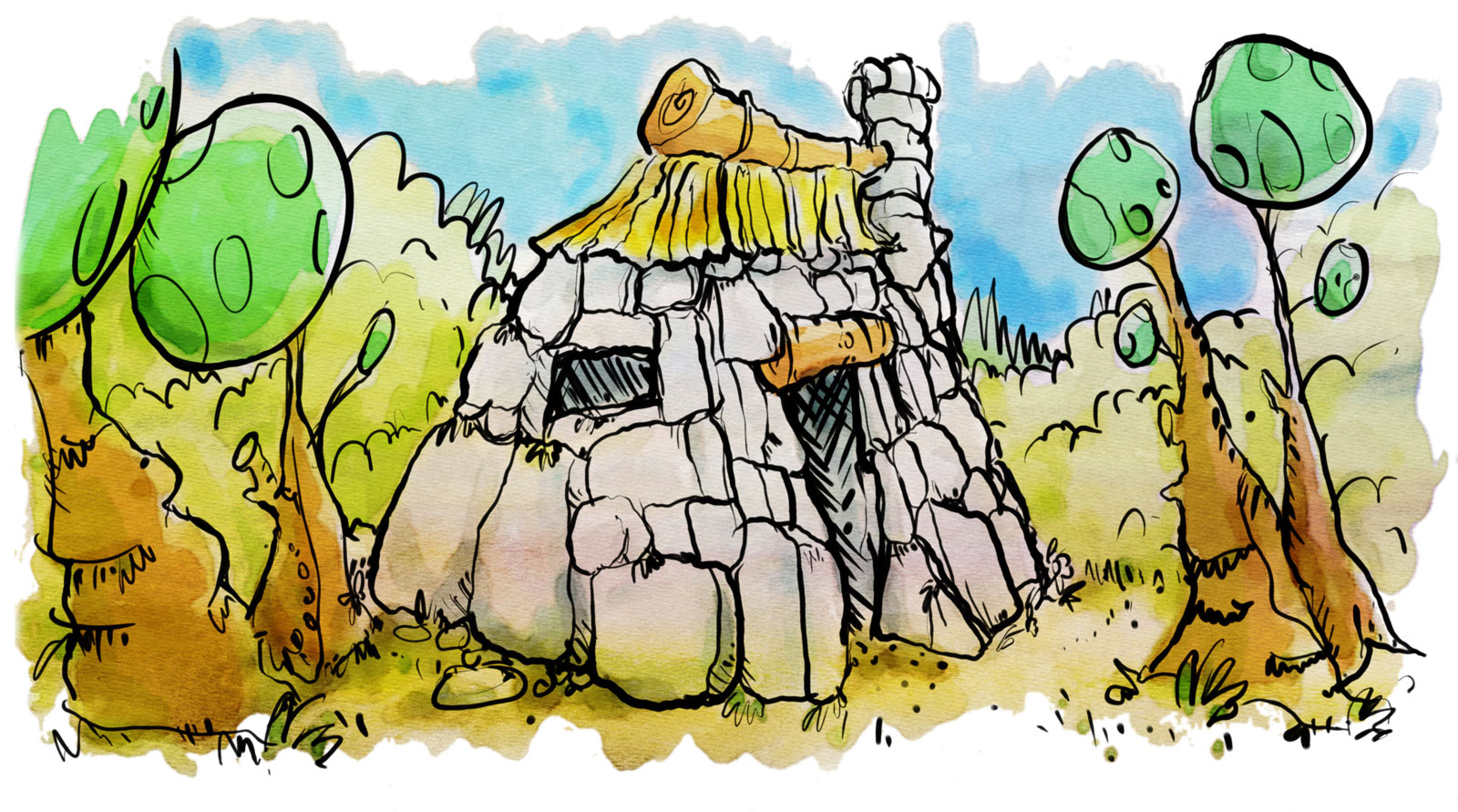 stone house childrens book illustration