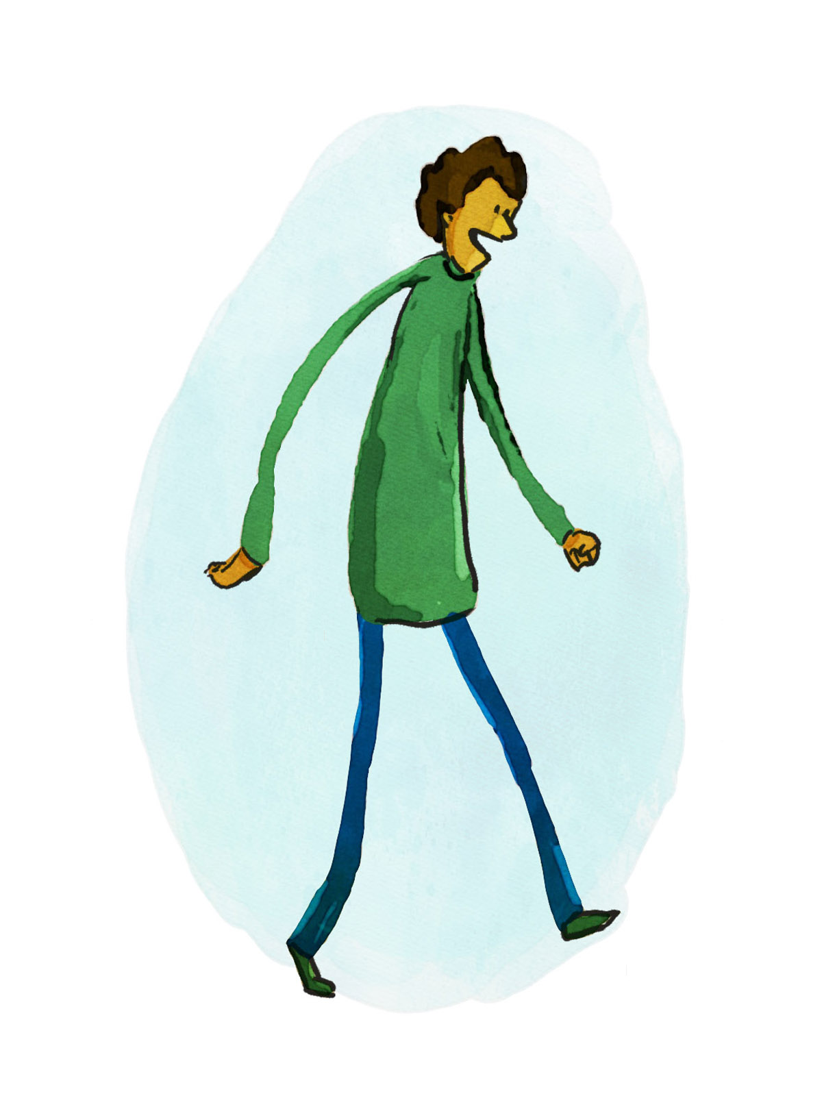 Man walking watercolor sketch